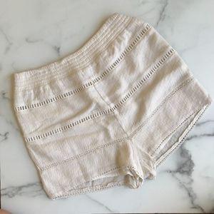 Free People cream crochet soft high waist shorts